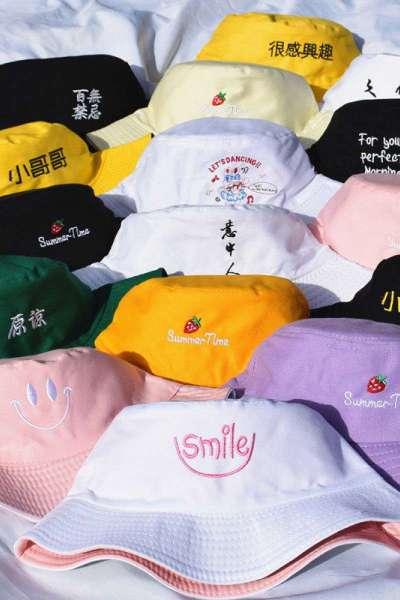 黛鬟雙面戴帽子女女士帽雙面刺繡百搭盆帽漁夫帽男女可愛學生韓版