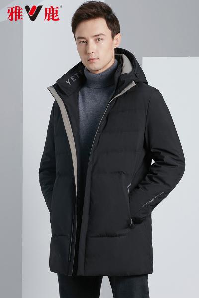 雅鹿羽绒服男士商务中长款冬装连帽户外保暖加厚工装休闲外套冬D