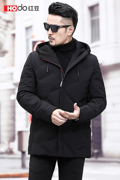 HODO红豆男装 男士羽绒服 冬季时尚有型气质保暖连帽羽绒服外套男