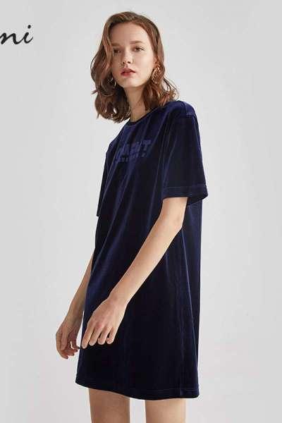 伊芙丽裙子女新款秋装复古丝绒短袖圆领中长款宽松连衣裙