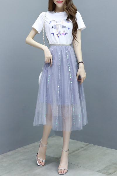迪施玛 连衣裙夏装2019款女小清新刺绣亮片短袖T恤网纱半身裙子两件套1853