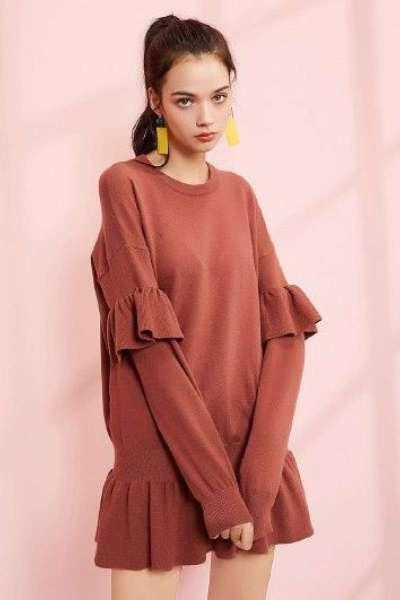 【热卖】7M风装时尚修身显瘦连衣裙圆领荷叶边针织连衣裙72000759