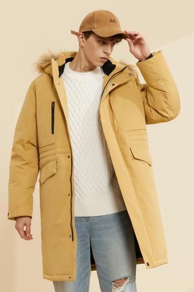 【2件3折價:403.5】美特斯邦威羽絨服男新款冬季連帽中長款時尚都市流大毛領保暖外套