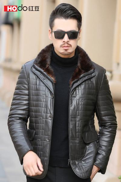 HODO红豆男装 男士羽绒服 冬季时尚简约水貂毛领PU面羽绒服外套男