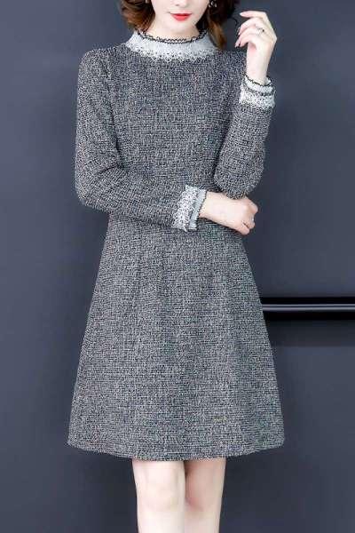 小样传奇 2020春季新款女装长袖名媛小香风连衣裙女灰色中长款a字裙子