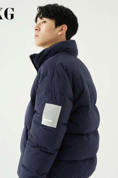 【兩件2折價:300】GXG男裝 冬季新款深藍色加厚白鴨絨面包服潮流短款男士羽絨服