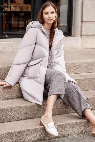 【1件3折价:462】MECITY冬季中长款网红韩版时尚连帽直筒型涤纶服女