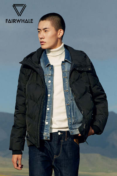 马克华菲羽绒服男 短款冬季新款黑色连帽轻薄保暖潮流男士外套潮