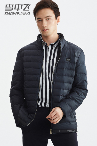 雪中飞羽绒服男短款2019冬季新款中年男士立领轻薄羽绒服外套