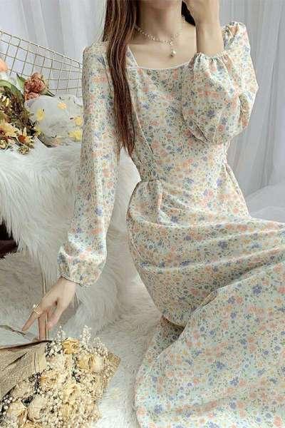 鸟之声复古碎花裙雪纺连衣裙女长袖2021秋装新款收腰显瘦气质打底仙女裙