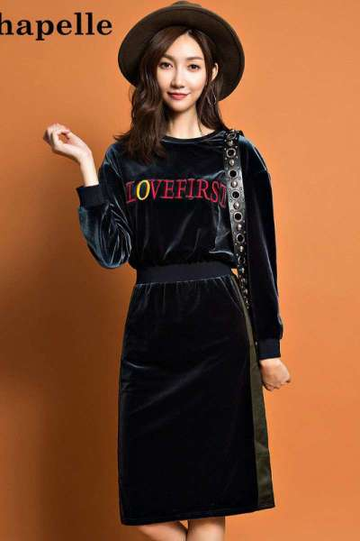 拉夏贝尔candie's秋季女装新款显瘦圆领套头印花连衣裙女30074223