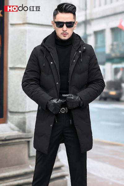 HODO紅豆男裝 男士羽絨服 冬季商務簡約可脫卸帽領中長款羽絨服外套男
